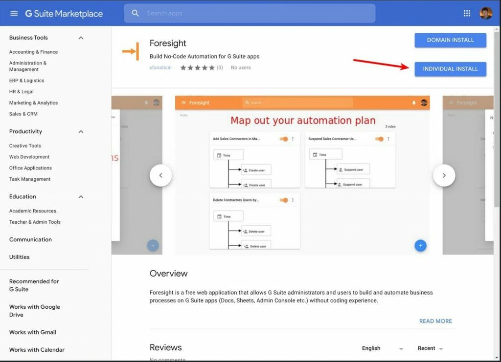 Install Foresight from G Suite Marketplace