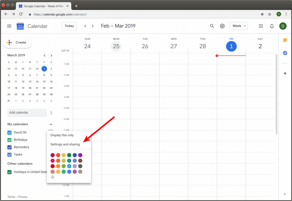 this image shows you open settings and sharing in your google calendar interface