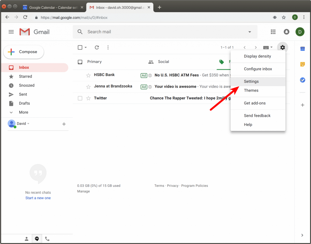 open settings menu in Gmail