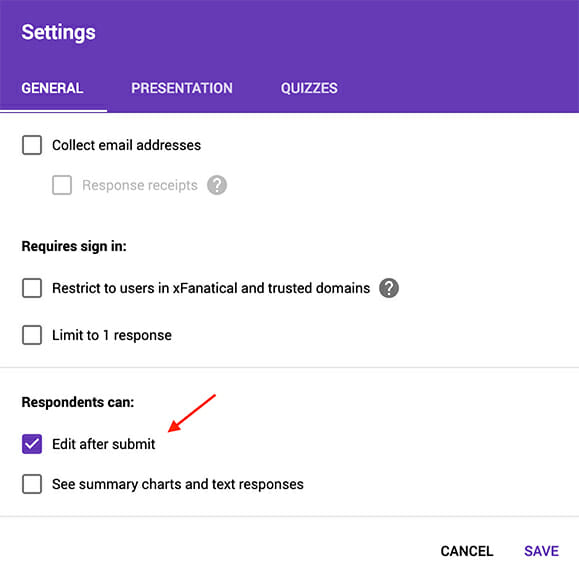 Enable Respondents can edit after submit options in the google forms settings