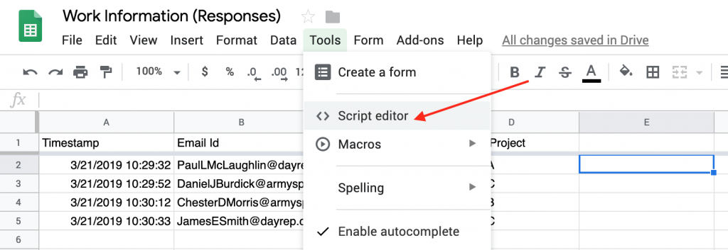 This image shows you the script editor submenu in the Tools menu.