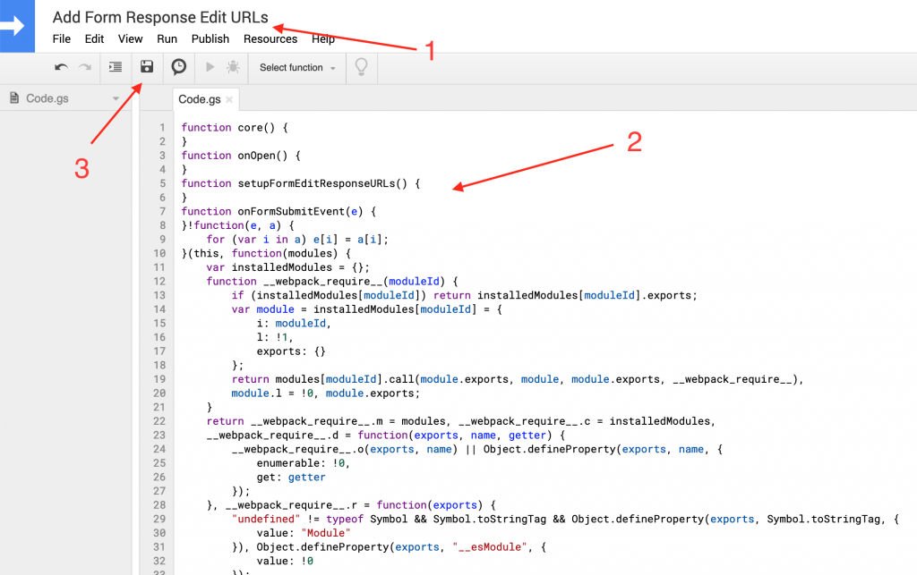 This image shows the script editor and how to copy and paste our built apps script to your spreadsheet