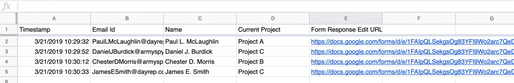 this image shows you a final result sample after adding form response edit urls to the spreadsheet. The links are automatically added in a spreadsheet column.