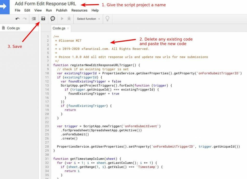 Set up apps script in script editor