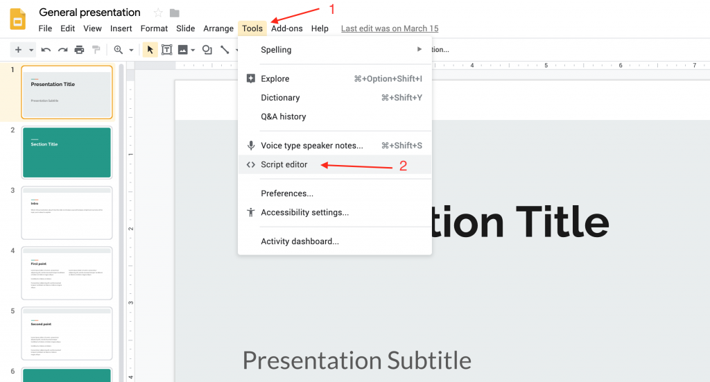 the tools script editor menu in google slides