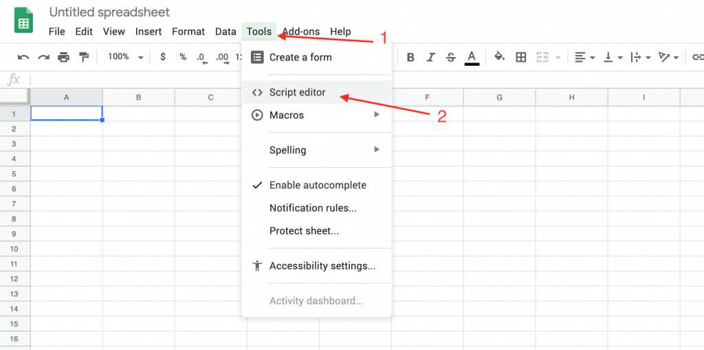 the tools script editor menu in google sheets