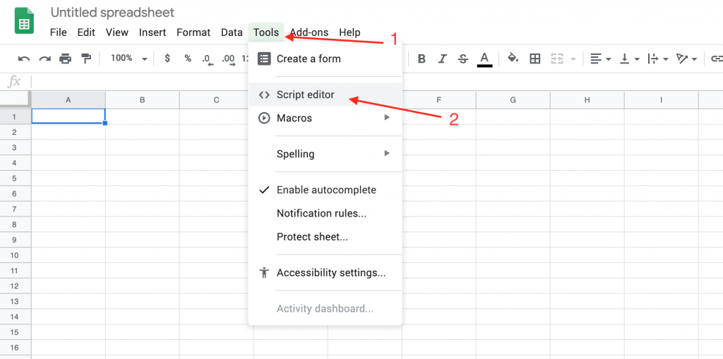 the tools script editor menu in google sheets