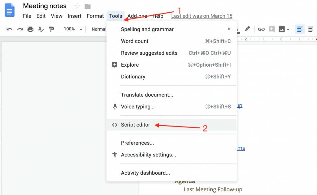 the tools script editor menu in google doc