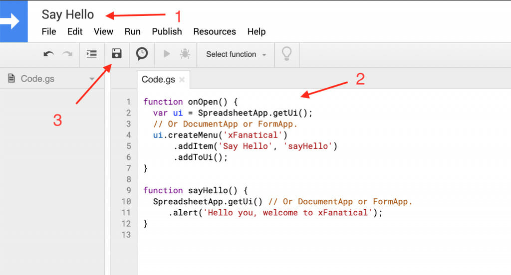 the script editor interface with title and sample code pasted