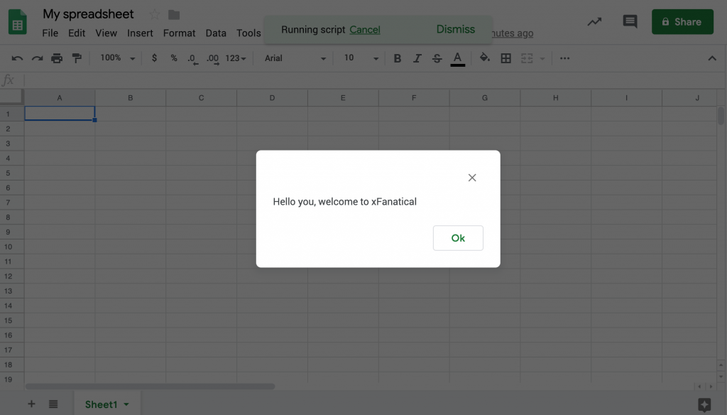 a dialog pops up in the google sheets by running the apps script