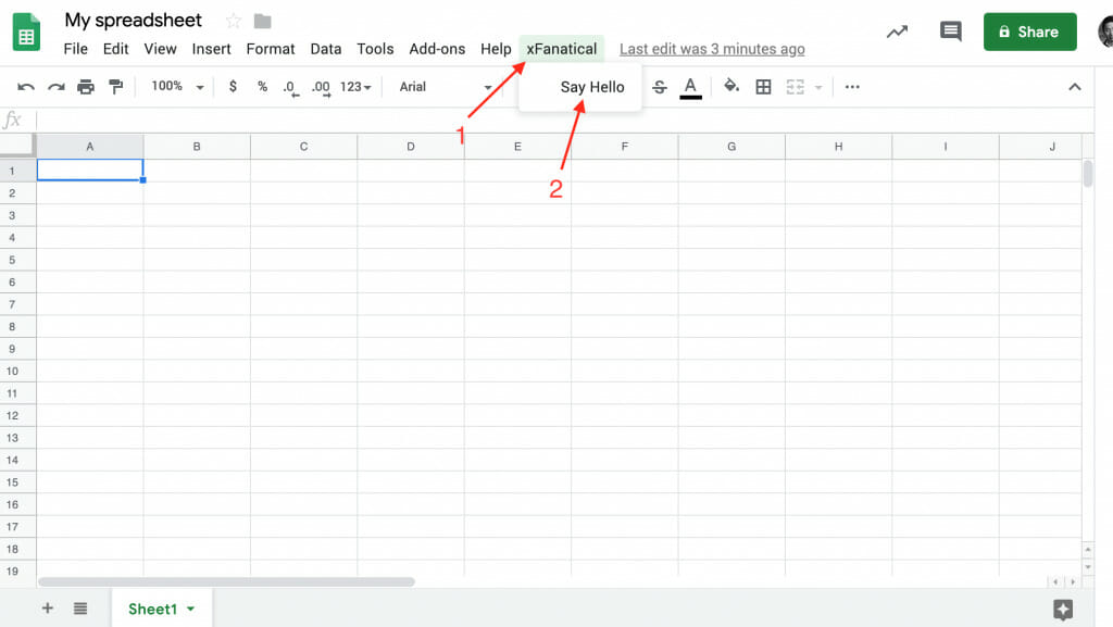 a custom menu is created by xfanatical in google sheets