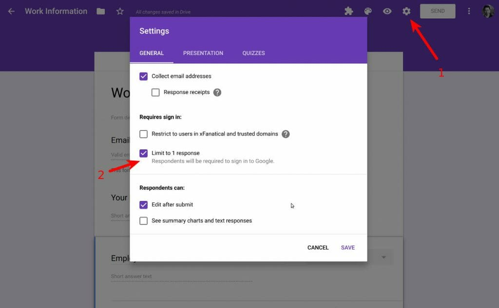 Limit to 1 response option in Google forms settings