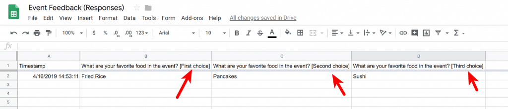 Form responses shows different columns for ranked answers