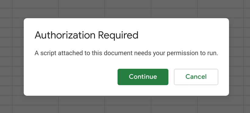 Authorization required dialog