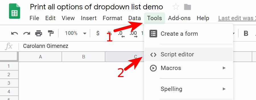 Open Script editor in the demo sheet