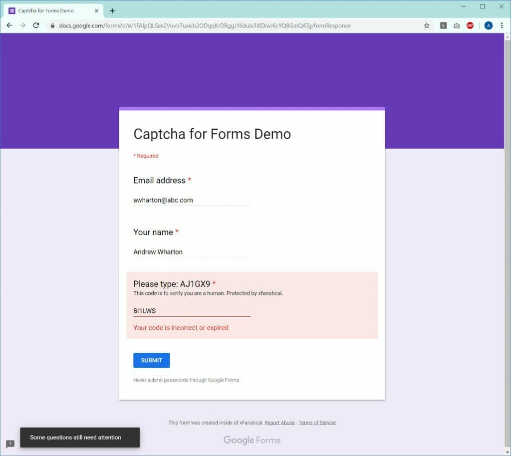 Google Forms Captcha: Anti-Spamming for Google Forms