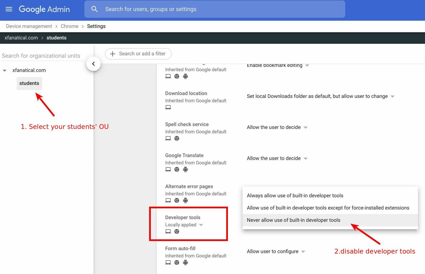 Disable developer tools in Chrome settings