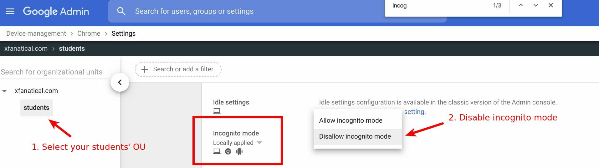 Disable incognito mode in Chrome settings