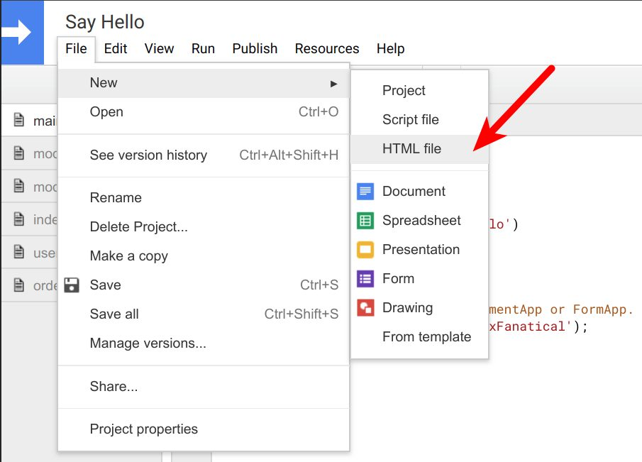insert an HTML file in script editor of google apps, in the menu of file > new > html file