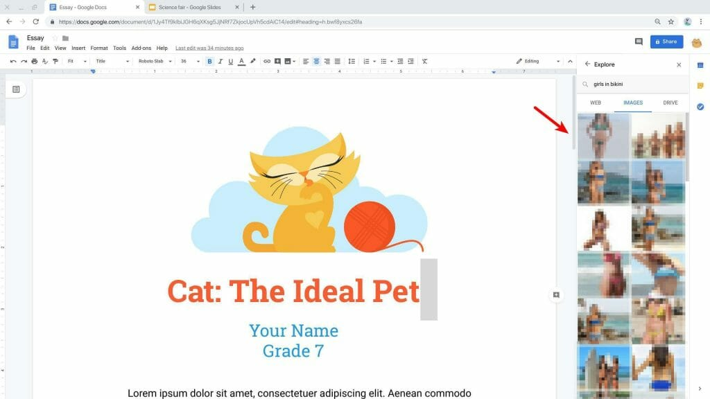The Explore feature in Google Docs allows you to search images and websites