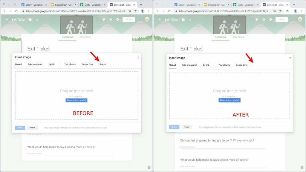 Safe Doc blocks image search tab in Forms