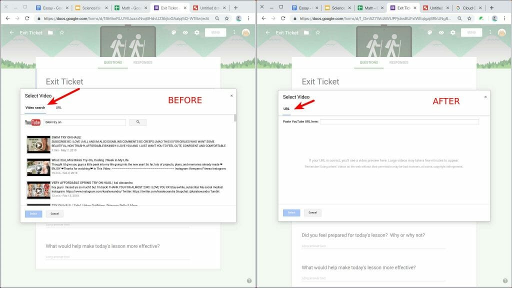 Safe Doc blocks the Youtube video search in Google Forms
