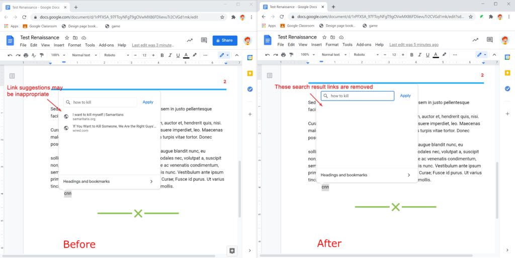 Safe Doc removes the link suggestions in Google Docs