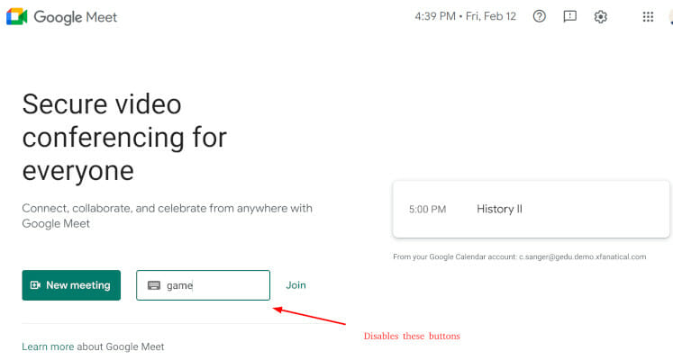 Disable the Net meeting and join meeting code buttons in Google Meet home page