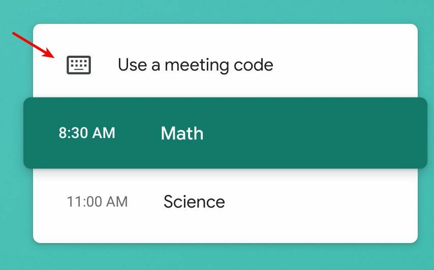 Use a meeting code button in Google Meet