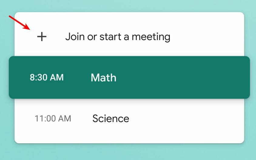 Join or start a meeting button in Google Meet