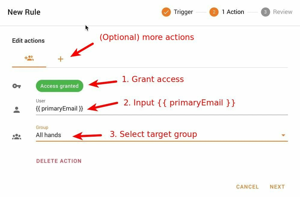 Edit Add group member action in Foresight
