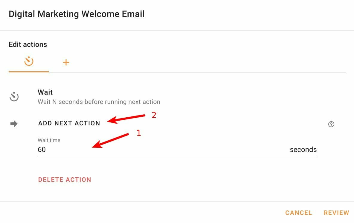 Configure the Wait action in Foresight