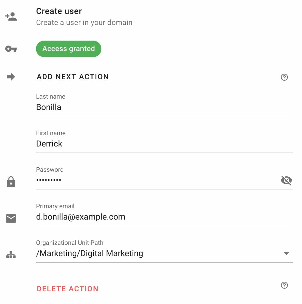 Edit Create user action in Foresight