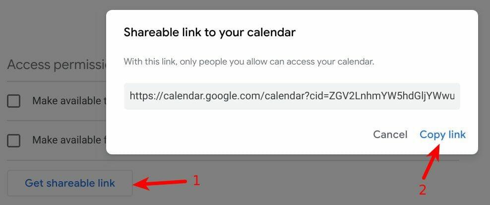 Google Calendar Share link