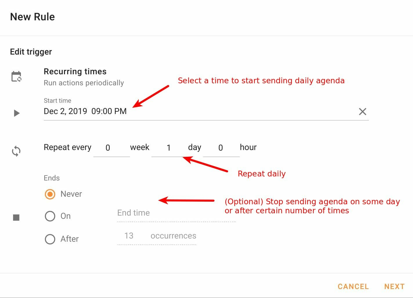 Configure recurring times for daily agenda in Foresight