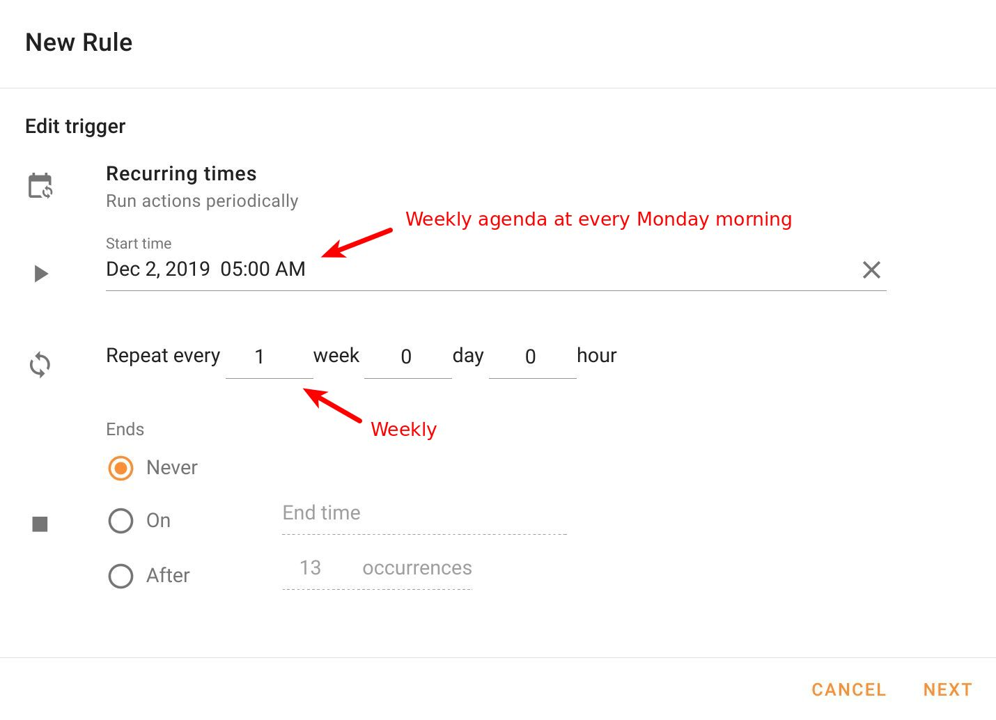 Configure weekly Recurring times in Foresight