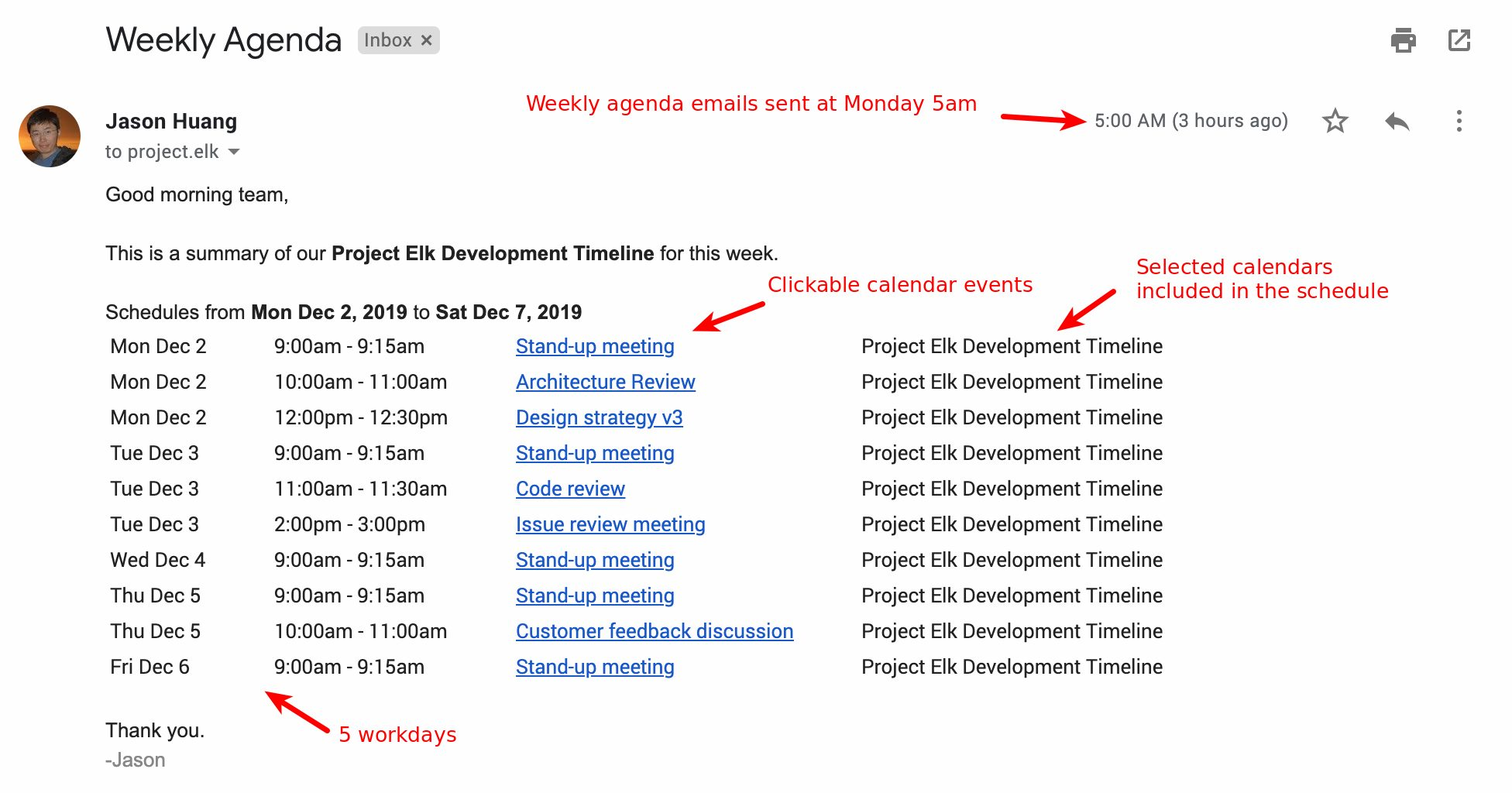 Weekly agenda email from Foresight