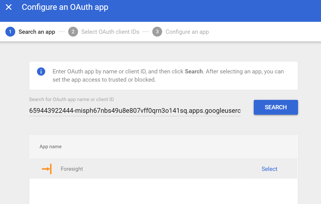 """Search Foresight in """"Configure an OAuth app"""""""