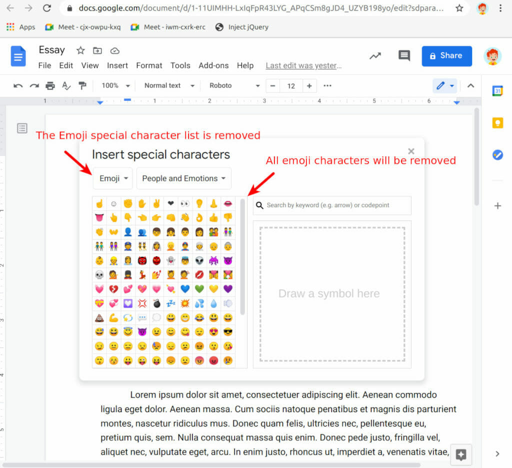 Safe Doc removes all Emoji special characters in Docs, Slides and Drawing