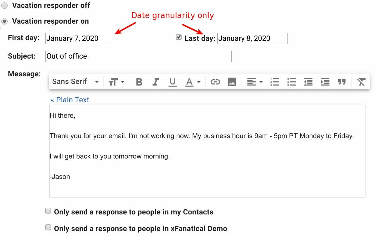 Gmail vacation responder sync with Foresight