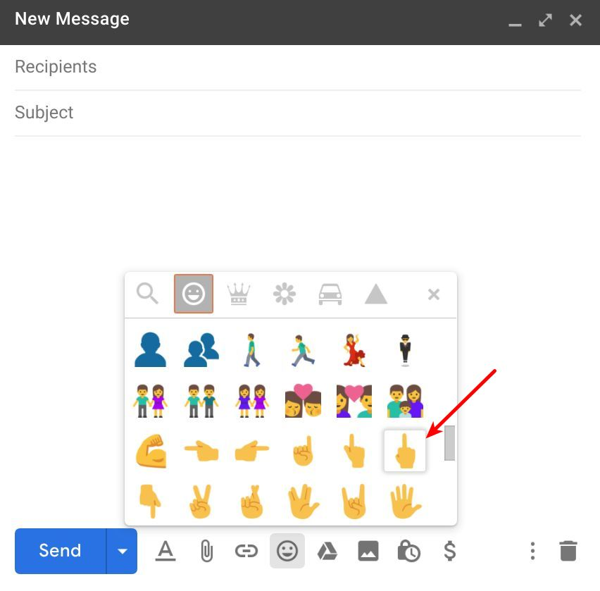 Middle finger emoji in Gmail