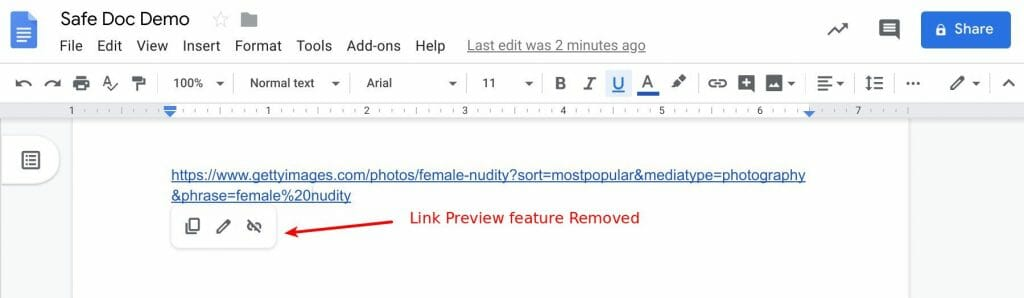Link Preview feature removed by Safe Doc