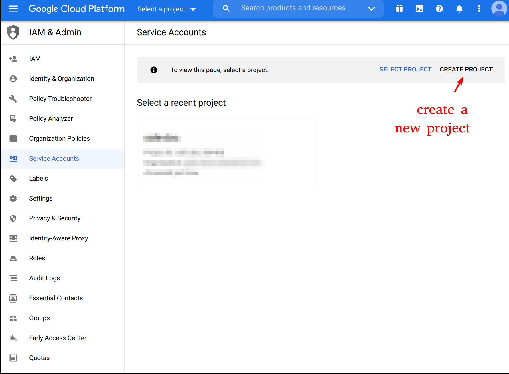 Google Cloud Platform Service Account Page