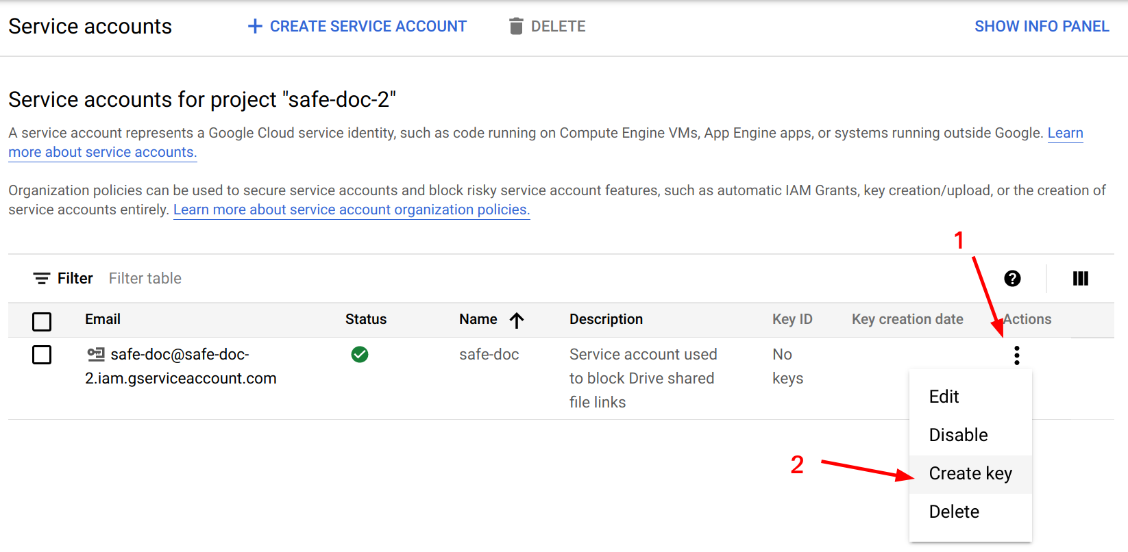 Create key for service account