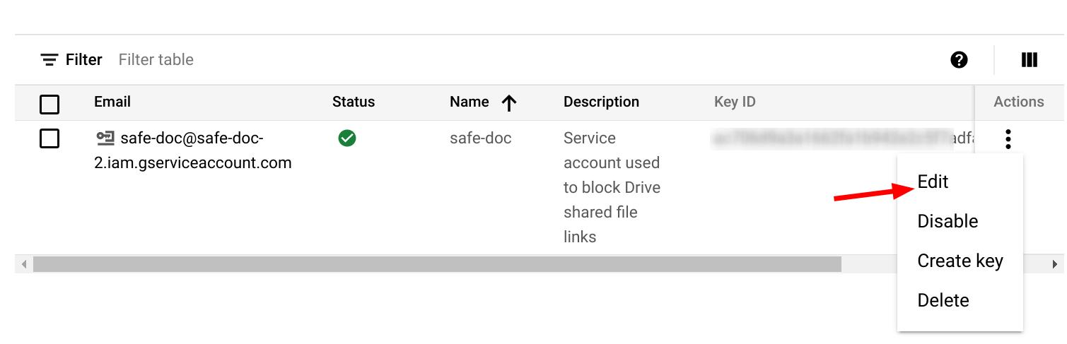 Edit service account
