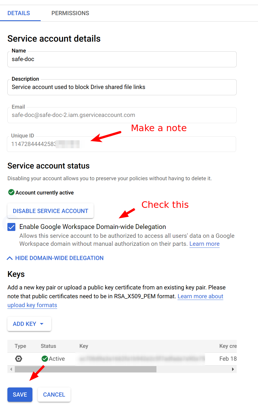 Enable Domain-wide delegation for Google Service account