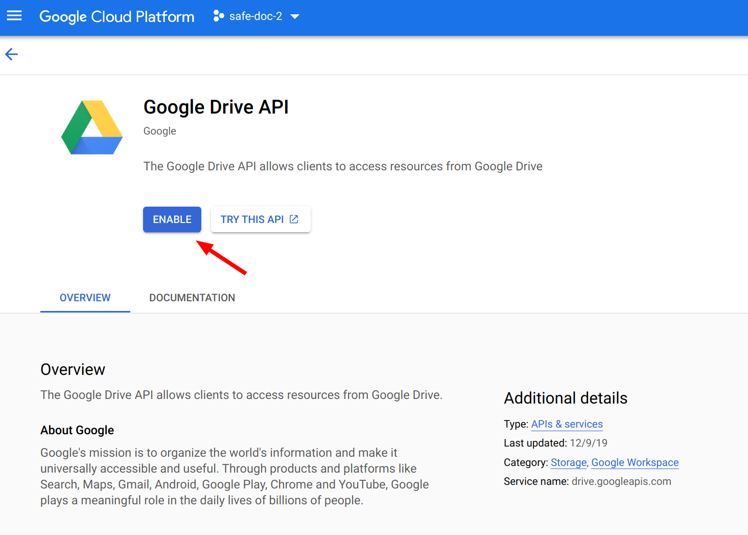 Enable Google Drive API in GCP