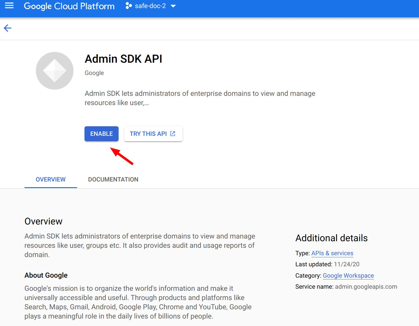 Enable Admin SDK API in GCP