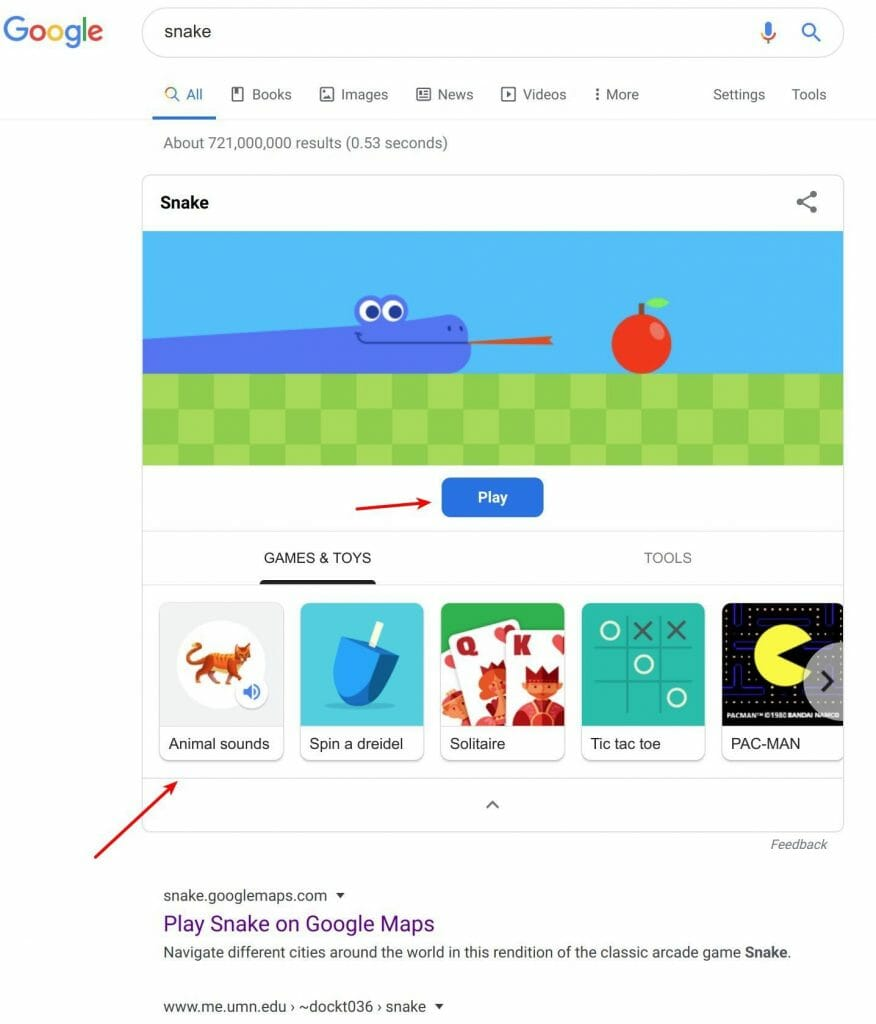 Free mini games like snake in Google search results