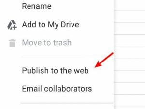 Publish to the web feature in docs, sheets, slides and drawings
